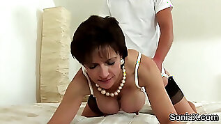 Cheating milf lady sonia flashes her monster knocker