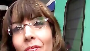 French Milf with glasses picked up from train for her first big cock video tape