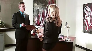Secretary Devon gets to suck fuck her two bosses by turns at work