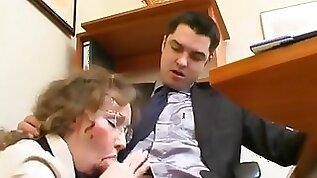 Mature Russian secretary fulfills every order of her boss