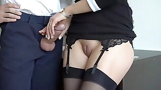 Gorgeous milf in stockings made her new boss cum twice