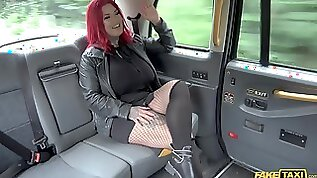 Busty amateur MILF strips on the back seat to fuck in hard scenes