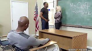 Slutty teacher with black detention students alone