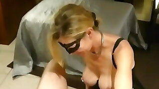 Slave is offered ass and mouth to a friend at home