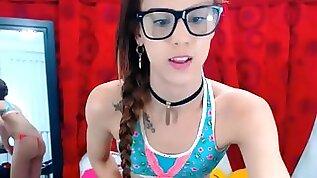 Cute brunette Teen Trap Flirting and Dancing