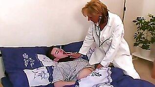 Vintage blonde milf doctor in hot lingerie fucks her patient