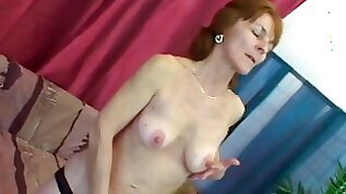 Horny granny in stockings fingers wet snatch and gets laid