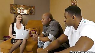 Posh white milf Cathy Heaven gets penetrated by black dudes