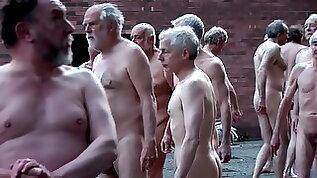 British nudist people in group