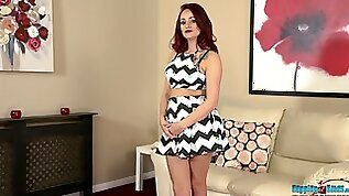 Red haired amazing nympho Georgie Newman is ready to flash her titties