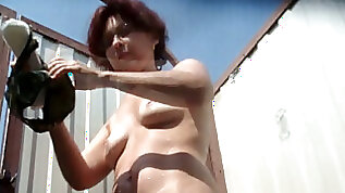 Busty redhead white milf with hairy pussy filmed on spycam