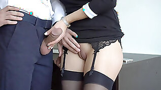 Splendid secretary In Stockings Makes Boss Cum On Her dress In Office