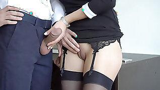 Splendid secretary In Stockings Makes Boss Cum On Her dress In Office