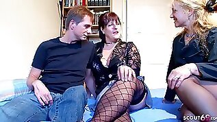 German Mature Seduce Real old normal Couple to 3Some Casting