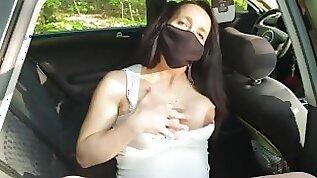 Pregnant MILF masturbating in a car close up pussy