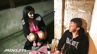 La France A Poil Sexy young Brunette Fucks Homeless M