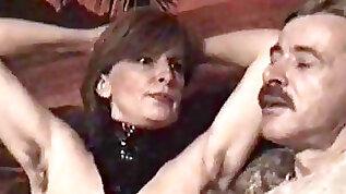 German mature femdom gimp must munch her wooly armpits