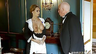 Blonde maid strips for the master of the house and gets laid with him