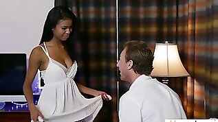 Romantic ebony girlfriend Nia Nacci thirsts to be fucked hard after the date