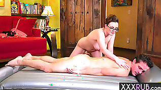 Busty massage professional used a clients big cock